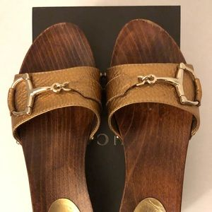 GUCCI Leather Horsebit Studded Clogs Sandals